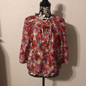 Loft Sheer floral blouse with pleating detail